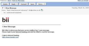 email palsu BII