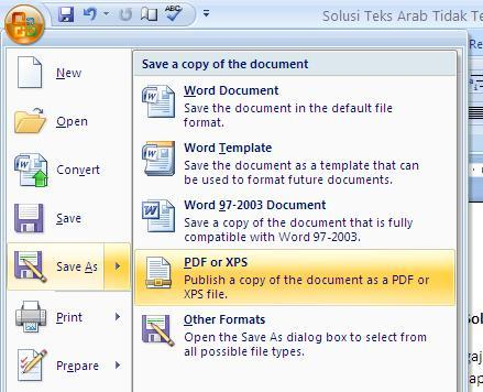 Cari menu Save As. Arahkan ke menu PDf or XPS, kemudian klik.