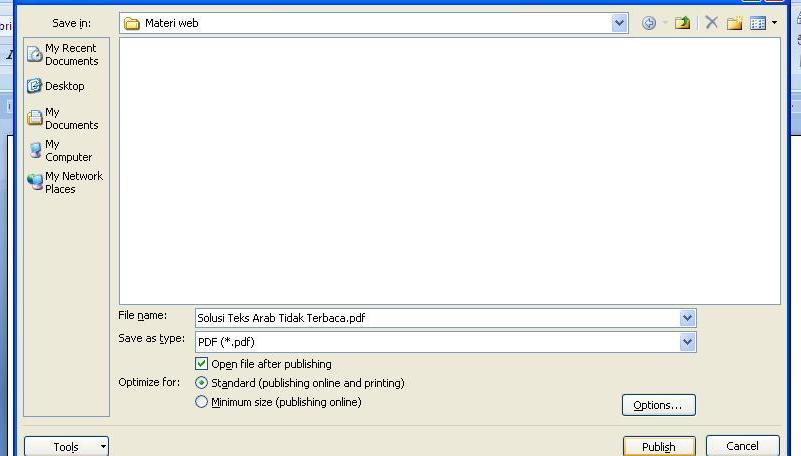 Akan terbuka jendela yang menanyakan dimana anda harus menyimpan file hasil convert ke PDF. Klik Publish